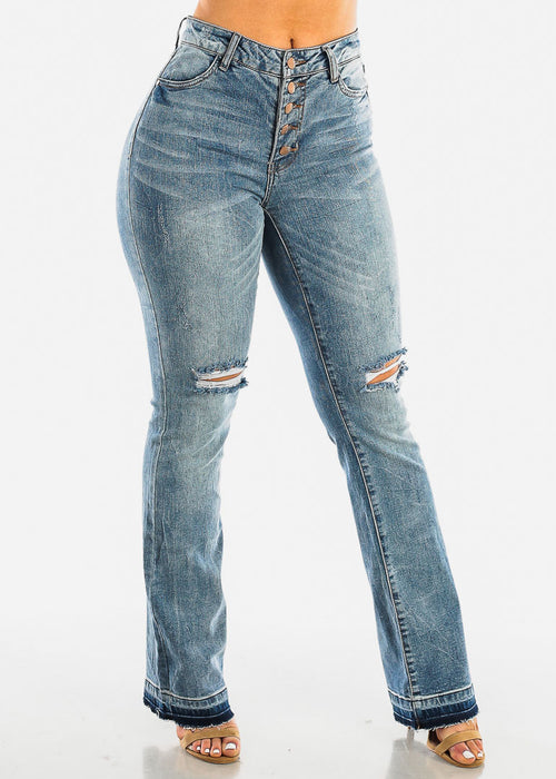 Faded Torn Wide Legged Jeans