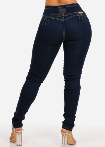Dark High Rise Levanta Cola Skinny Jeans