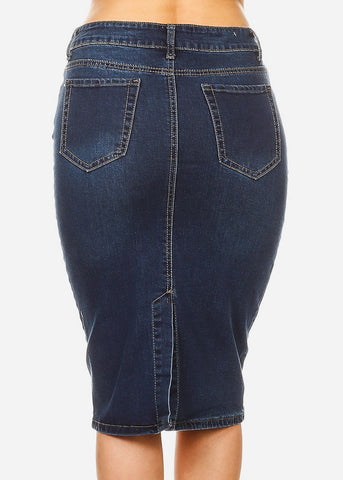 Image of Half Button Up Med Denim Pencil Skirt