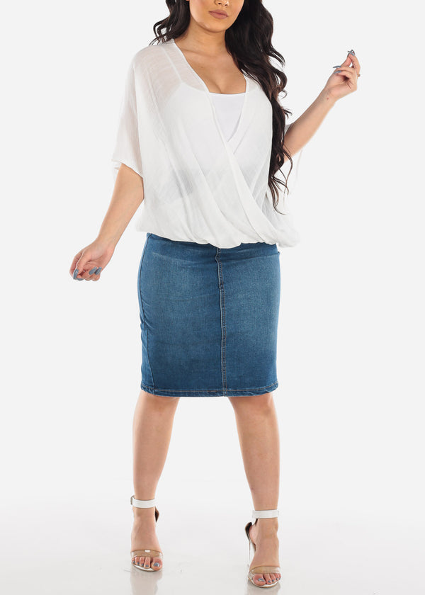 Dark Wash Butt Lifting Denim Skirt