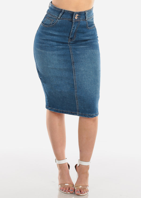 2 Button High Waisted Push Up Butt Lifting Levanta cola Dark Wash Denim Skirt For Women Ladies Junior