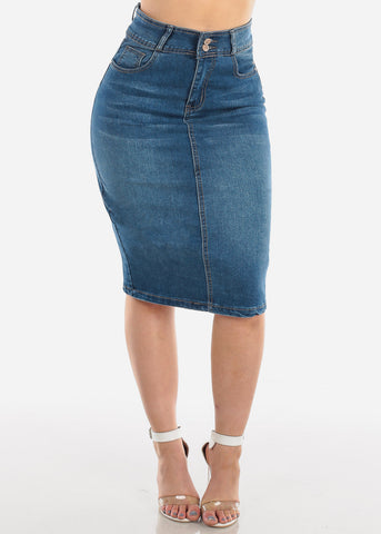 Image of 2 Button High Waisted Push Up Butt Lifting Levanta cola Dark Wash Denim Skirt For Women Ladies Junior