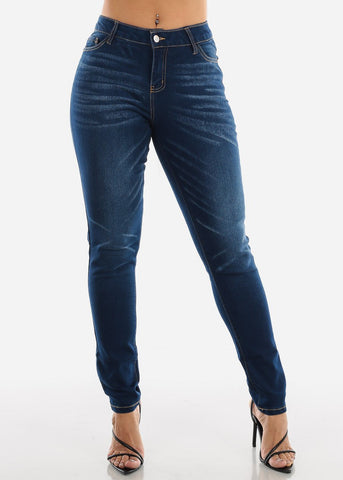 Image of Dark Enzyme Wash Skinny Jeans