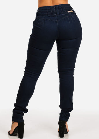 PLUS SIZE Colombian Design High Rise Dark Skinny Jeans