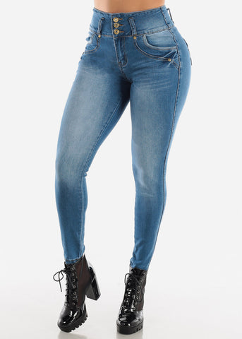 Blue High Waisted Butt Lifting Skinny Jeans