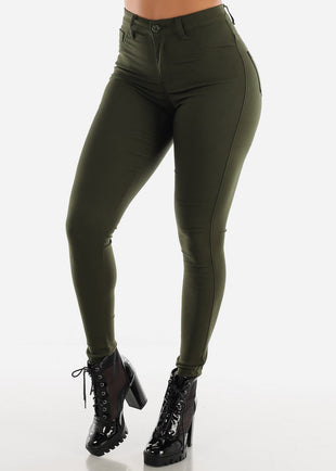 High Waisted Olive Jegging Skinny Pants