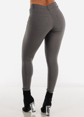 Image of High Waisted Dark Grey Jegging Skinny Pants