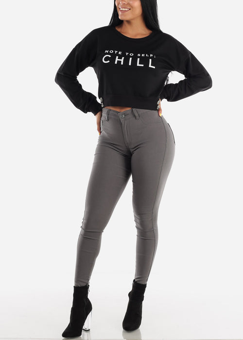 High Waisted Dark Grey Jegging Skinny Pants