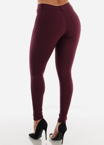 High Waisted Burgundy Jegging Skinny Pants