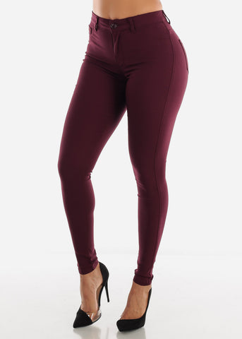 Image of High Waisted Burgundy Jegging Skinny Pants