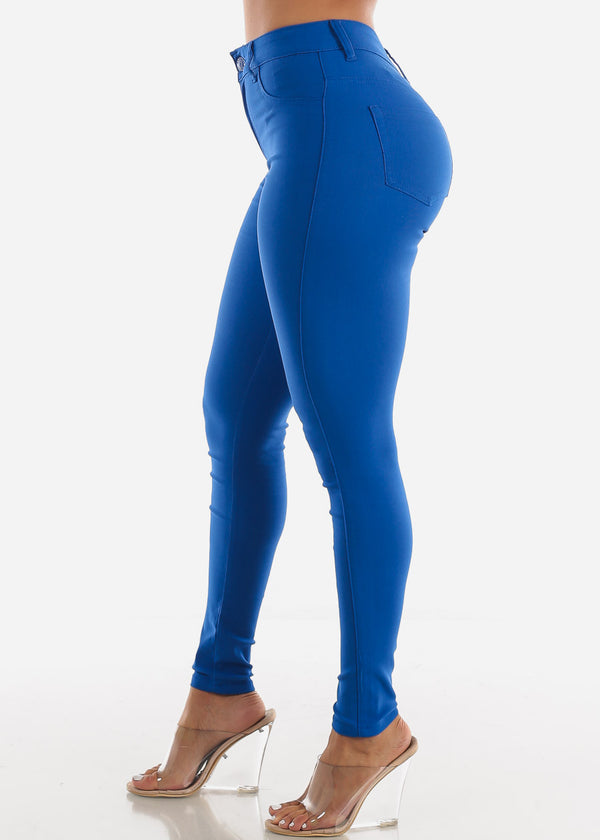 High Waisted Royal Blue Jegging Skinny Pants