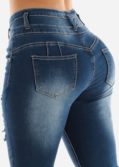 Med Wash Torn Butt Lifting Skinny Jeans