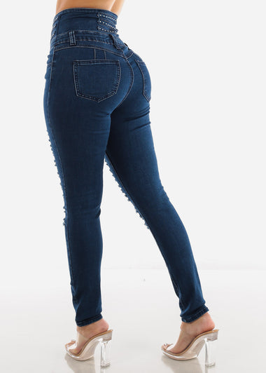 Dark Wash Torn High Rise Corset Skinny Jeans