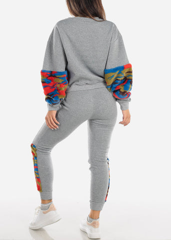 Image of Fuzzy Grey Sweater & Pants (2 PCE SET)