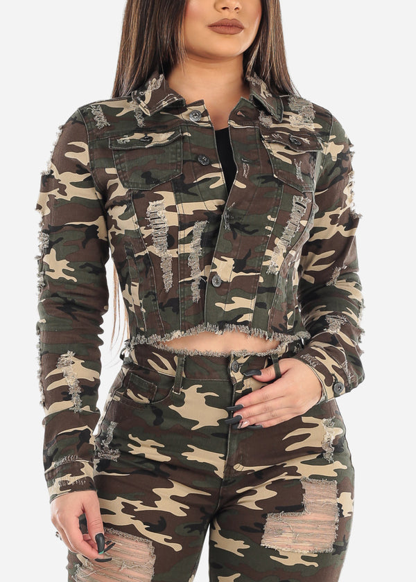 Distressed Cropped Camo Jacket