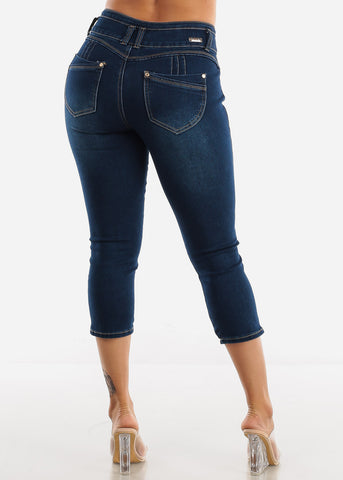 Dark Wash Butt Lifting Denim Capris
