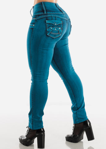 High Rise Teal Butt Lifting Skinny Jeans
