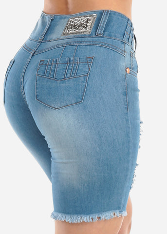Image of Low Rise Butt Lifting Levanta Cola Colombian Design 3 Button Light Wash Ripped Distressed Denim Bermuda Shorts