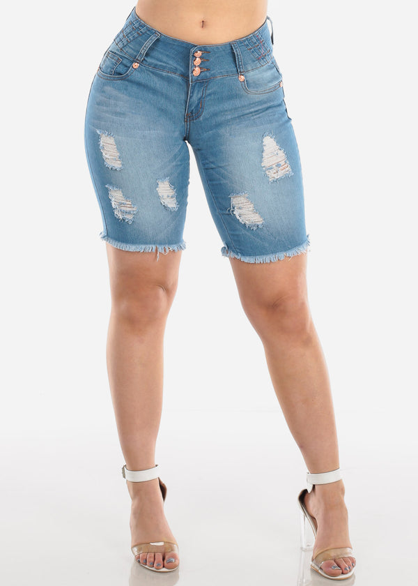 Low Rise Butt Lifting Levanta Cola Colombian Design 3 Button Light Wash Ripped Distressed Denim Bermuda Shorts