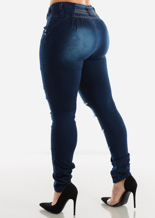 Dark Wash Torn Butt Lifting Skinny Jeans