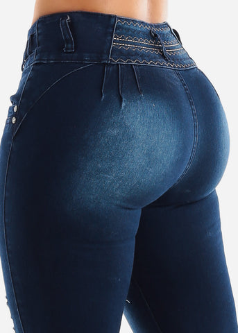 Image of Dark Wash Torn Butt Lifting Skinny Jeans