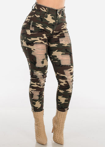 Distressed High Rise Camo Jeans