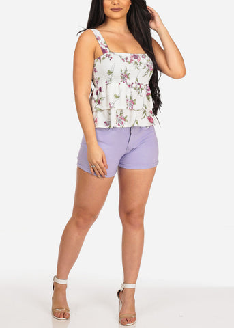 Image of Women's Junior Summer Spring New Trendy Stretchy Low Rise Below The Waist Light Purple Booty Levanta Cola Butt Lifting Short Shorts