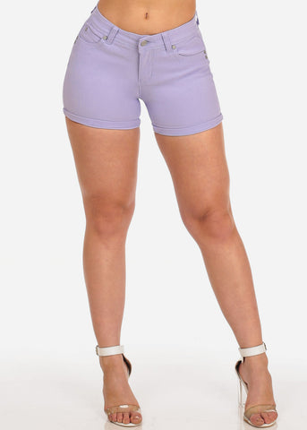Women's Junior Summer Spring New Trendy Stretchy Low Rise Below The Waist Light Purple Booty Levanta Cola Butt Lifting Short Shorts