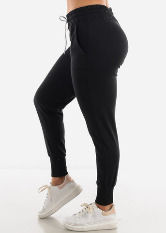 Image of High Rise Black Joggers