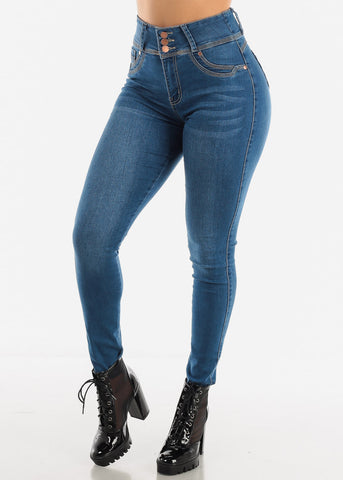 Med Blue Sexy High Waist Jeans