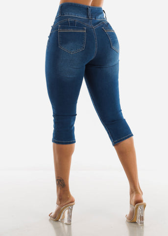 Med Blue Butt Lifting Capris