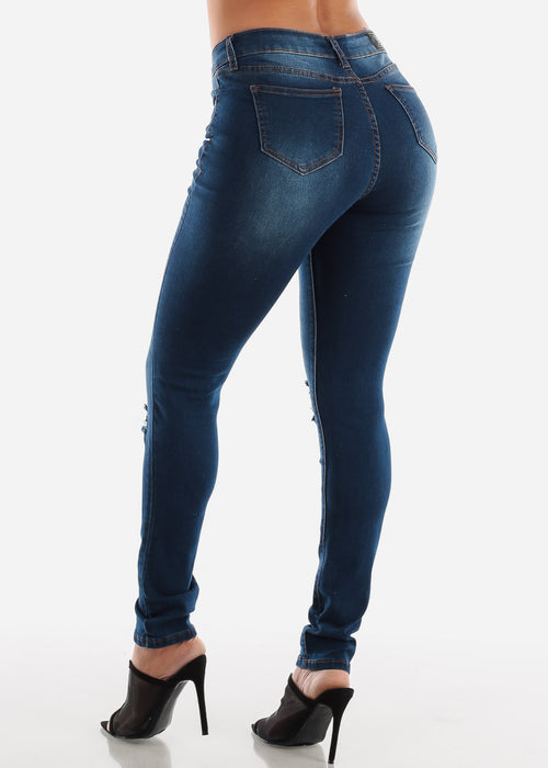 Mid Rise Dark Wash Ripped Skinny Jeans
