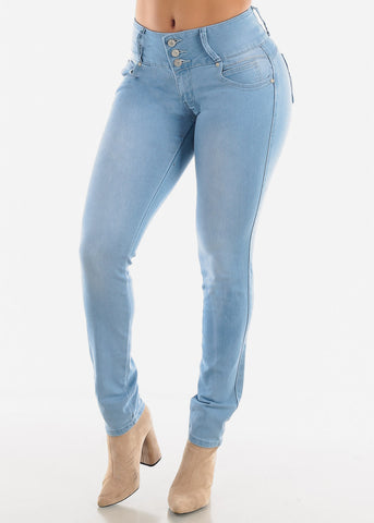 Levanta Cola Light Wash Mid Rise Jeans