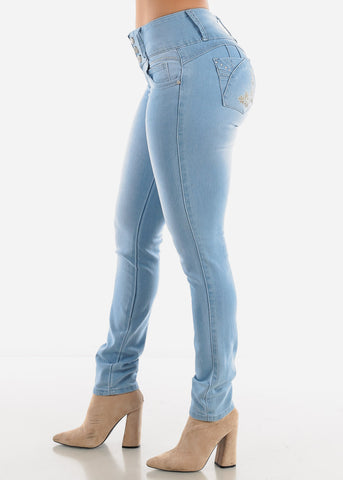 Image of Levanta Cola Light Wash Mid Rise Jeans