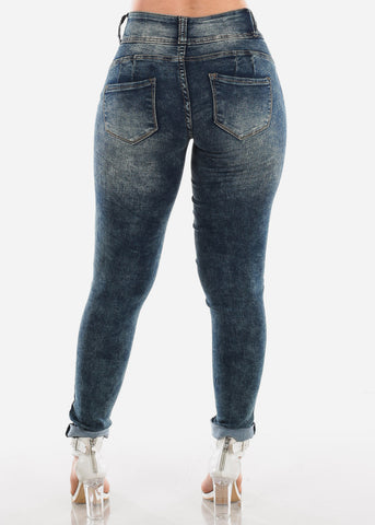 High Waisted Butt Lifting Levanta Cola Colombian Design 3 Button Dark Marble Wash Skinny Jeans For Women Ladies Junior