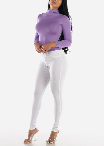 Image of High Waisted White Jegging Skinny Pants