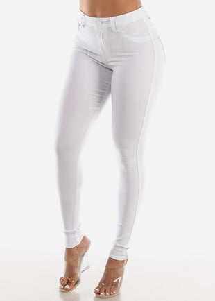 High Waisted White Jegging Skinny Pants