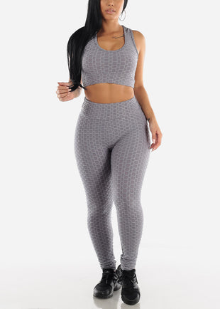 Anti Cellulite Grey Sports Bra & Leggings  (2 PCE SET)