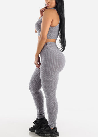 Image of Anti Cellulite Grey Sports Bra & Leggings  (2 PCE SET)