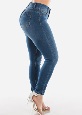 High Waisted Butt Lifting Levanta Cola Colombian Design 3 Button Med Wash Skinny Jeans For Women Ladies Junior