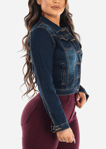 Image of Button Up Dark Wash Denim Jacket