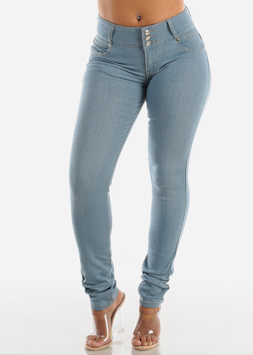 Light Wash Mid Rise Levanta Cola Skinny Jeans