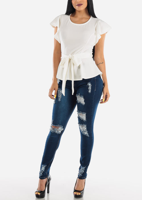 Mid Rise Ripped Med Skinny Jeans