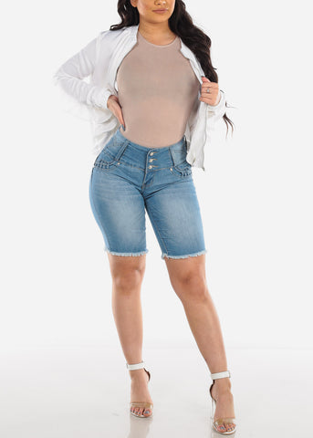 Low Rise Butt Lifting Levanta Cola Colombian Design 3 Button Ripped Distressed Light Wash Denim Bermuda Shorts