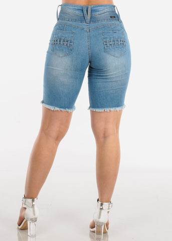 Image of Low Rise Butt Lifting Levanta Cola Colombian Design 3 Button Ripped Distressed Light Wash Denim Bermuda Shorts
