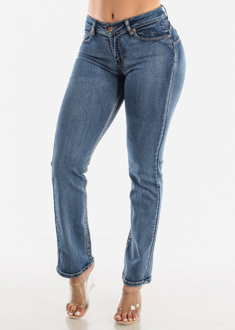 Image of High Waist Butt Lift Straight Jeans