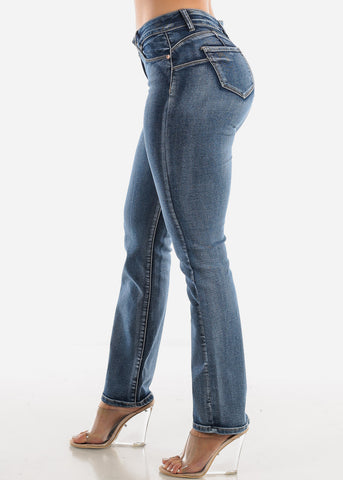 High Waist Butt Lift Straight Jeans