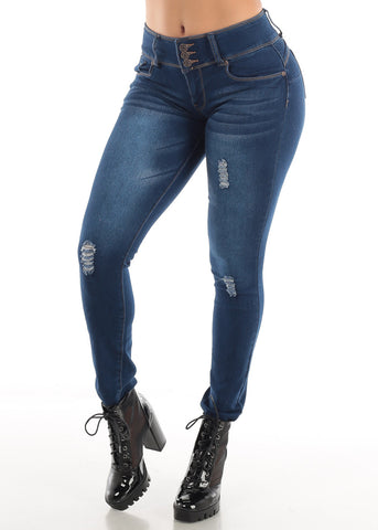 Image of Denim Butt Lifting Ripped Jeans