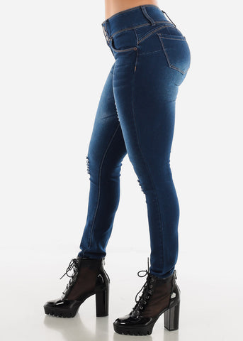 Denim Butt Lifting Ripped Jeans