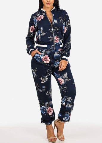 Floral High Rise Dark Blue Jogger Pants